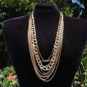 Boho Necklace Statement Goldtone Multi Strand Long
